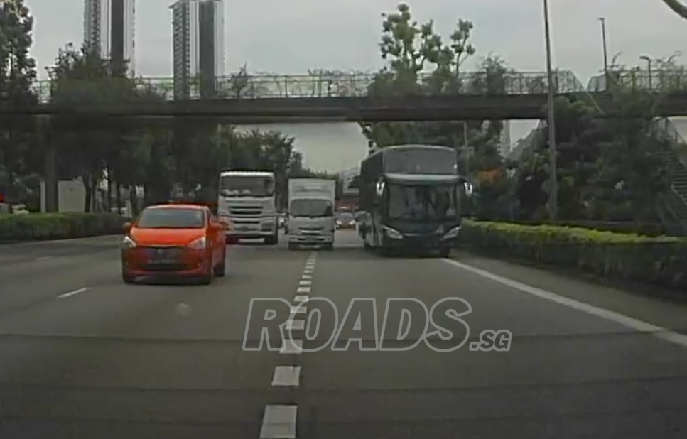Accident involving car, lorry, truck, and bus